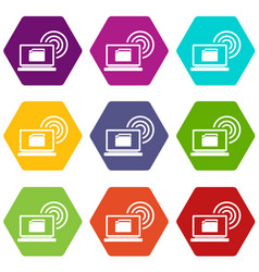 laptop and and wireless icon set color hexahedron vector image vector image