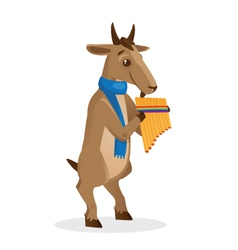 Musical animals Goat Panflute vector image vector image