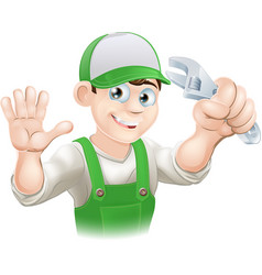 plumber or mechanic with spanner vector image