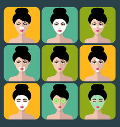 set of women icons with different cosmetic vector image vector image