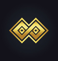 square infinity geometry gold logo vector image vector image