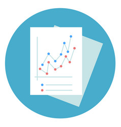 business documents with graphic chart icon round vector image