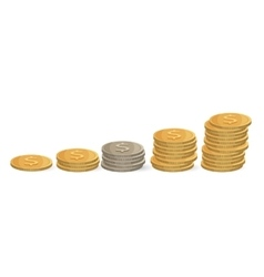 Coins ascending order isolated on white Silver vector image vector image