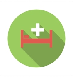 Hospital bed flat icon vector image