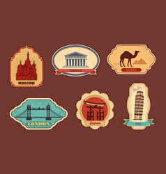 labels of travel vector image