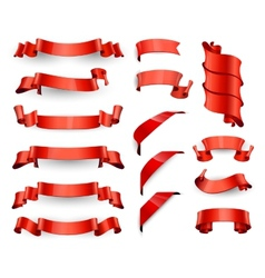 Realistic Red Glossy ribbons Large set vector image vector image