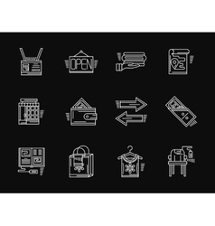 Retail website white flat line icons vector image vector image