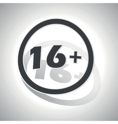 16 plus sign sticker curved vector image