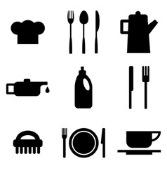 Black restaurant and kitchen icons vector