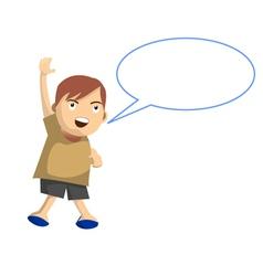 Cartoon boy jumps while speak with speech balloon vector image vector image