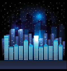 city scene at night vector image