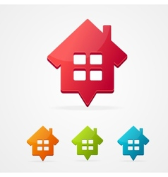 home icon pin set isolated on white vector image