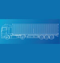 model trailer truck wire-frame eps10 format vector image vector image
