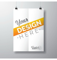 poster template of a folded paper sheet vector image vector image
