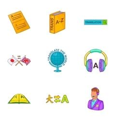 Translation of language icons set cartoon style vector image vector image