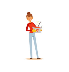 young woman standing with a pot of soup housewife vector image