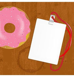 Badge With Donuts On Wooden vector image