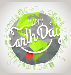 happy earth day concept logo with the smile vector image vector image