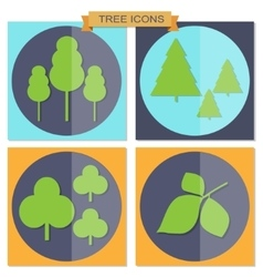 Set of flat tree icons vector image vector image