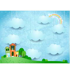 surreal landscape with hanging clouds and homes vector image
