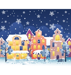 Winter night street vector image