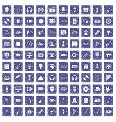 100 show business icons set grunge sapphire vector
