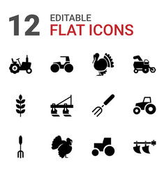 12 agricultural icons vector