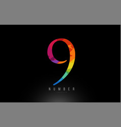 9 number rainbow colored logo company icon design vector