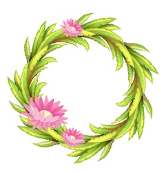 A green border with pink flowers vector image