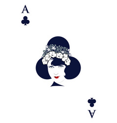 Ace of clubs with womans face and floral wreath vector