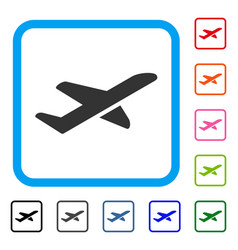 Airplane takeoff framed icon vector