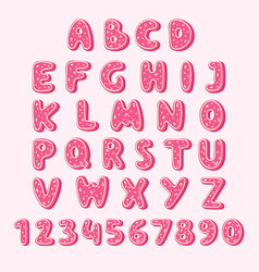 alphabet cookie food pink color tasty cookies set vector image