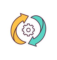 Arrows and gear blue rgb color icon vector