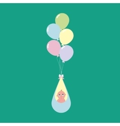 Baby flying on balloons vector image