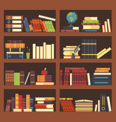 Books in library bookcase encyclopedia book at vector