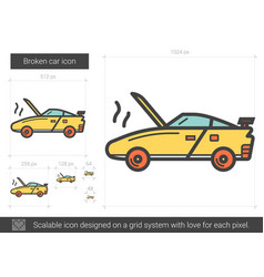 Broken car line icon vector