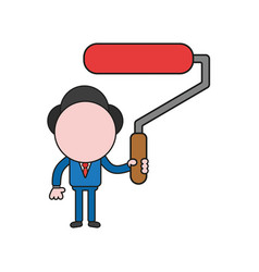 businessman character holding red paint brush vector image