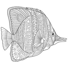 butterfly fish adult coloring page vector image