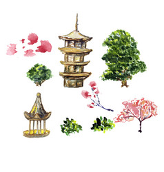 Card or poster with asia landscape building and vector