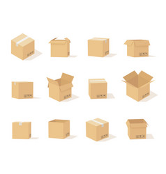 carton boxes opened and closed cardboard box vector image