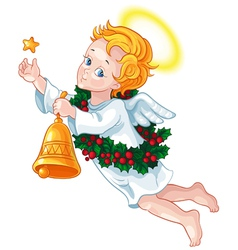 Cartoon cute christmas angel vector