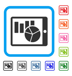charts on pda framed icon vector image