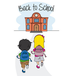 children walking to school vector image