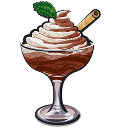 chocolate mousse glass vector image