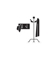 clothes hanger black concept icon clothes vector image