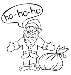 Coloring book santa claus with christmas gift vector