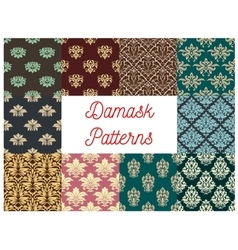 Damask flowery ornate seamless patterns set vector