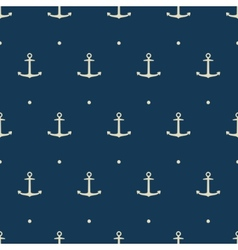 Dark blue seamless pattern with anchors vector image