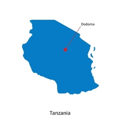 Detailed map of Tanzania and capital city Dodoma vector