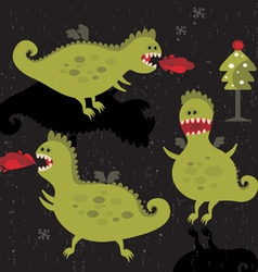Dragons background vector